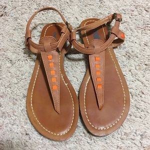 Charlotte Russe Brown T-Straps Sandals